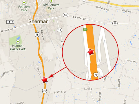 Map shows location of a semi truck accident on the southbound U.S. Highway 75 near mile marker 55 in Sherman, TX on September 18, 2013.