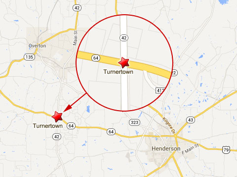 Map shows location of fatal semi truck accident in Turnertown, TX at the intersection of Texas State Highways 42 and 64 on September 3, 2013.