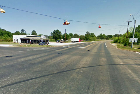 View of the intersection of State Highway 64 and State Highway 42 in Turnertown, TX that was the site of a fatal semi truck accident on September 3, 2013.