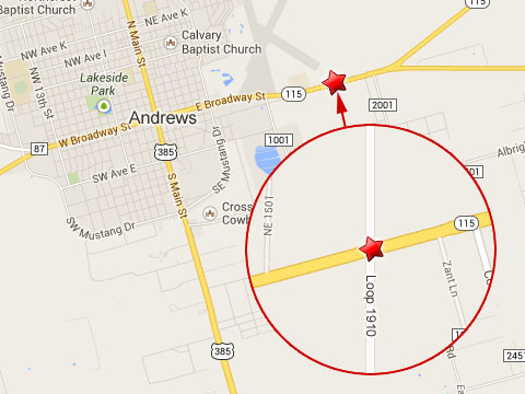 Map shows location of Andrews, TX, where a fatal semi truck accident occurred on October 12, 2013 on State Highway 115, which runs east to west through the middle of town.