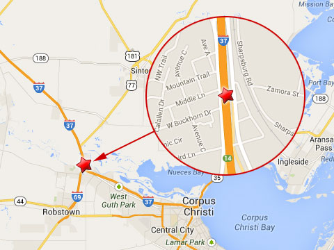 Map shows location of a cargo truck accident on the northbound I-37 near mile marker 14 in Corpus Christi, TX on October 13, 2013.