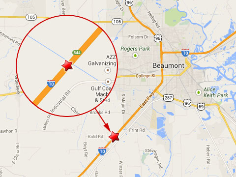 Map shows location of fatal semi truck crash on the eastbound I-10 just outside Beaumont, TX near mile marker 844 on October 22, 2013.