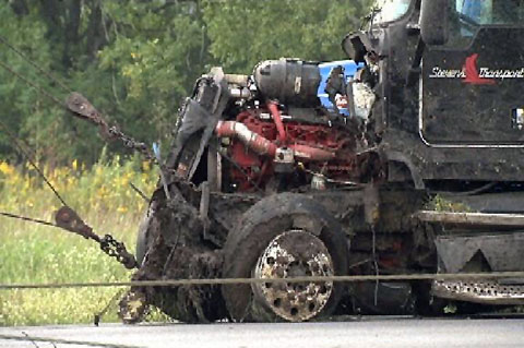 A tractor trailer crashed into a passenger car, killing the driver on I-10 about 8 miles southwest of Beaumont, TX. Photo credit: kfdm.com.