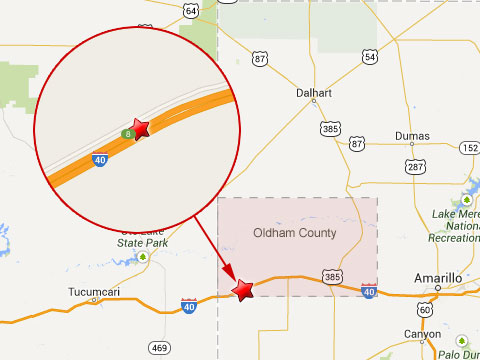 Map shows location of fatal semi truck accident near mile marker 8 on I-40 in Oldham County, TX on October 23, 2013.