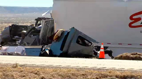 A trucker was killed after his semi truck jacknifed and overturned on the westbound I-40 just 8 miles from the New Mexico border in Oldham County, TX on October 23, 2013.