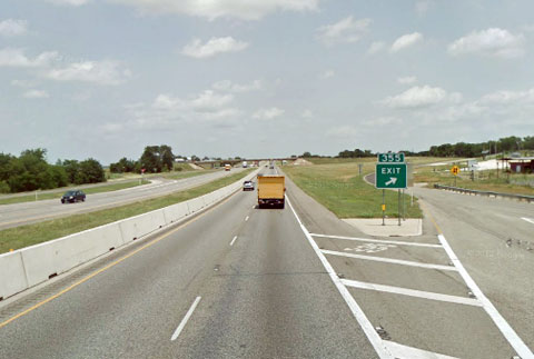 View of the northbound I-35 at mile marker 355 between West, TX and Abbott, TX near the accident site where a semi truck driver was killed after his truck caught fire on October 3, 2013.