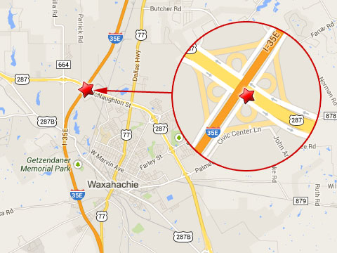 Map shows location of a semi truck accident at mile marker 403 on the transition ramp from the eastbound U.S. 287 to the northbound I-35E in Waxahachie, TX on October 8, 2013.