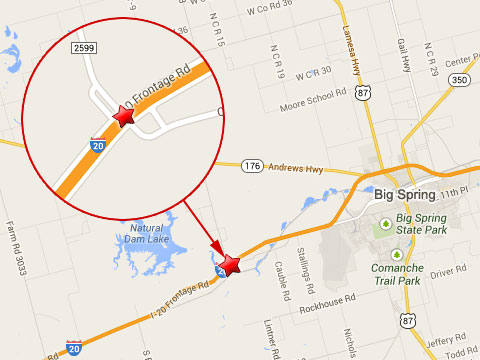 Map shows location of a semi truck crash and bridge collapse on I-20 at Farm to Market 2599 on November 5, 2013.