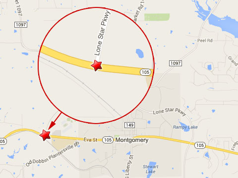 Map shows location of a semi truck accident at Texas State Highway 105 and Lone Star Parkway in Montgomery, TX on October 24, 2013.