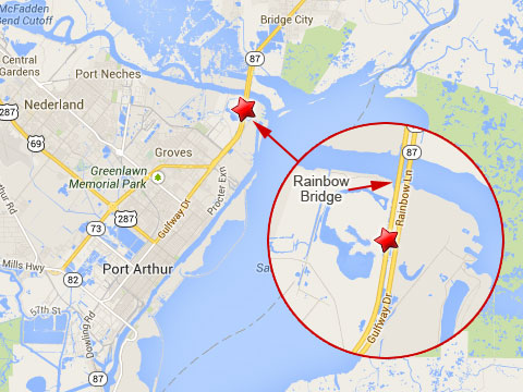Map shows location of the Rainbow Bridge in Port Arthur, TX where a semi truck jackknifed, punctured its fuel tank and caused a diesel fuel leak on October 31, 2013.